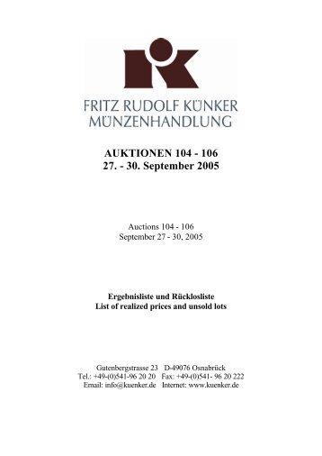 AUKTIONEN 104 - 106 27. - 30. September 2005 - Fritz Rudolf Künker