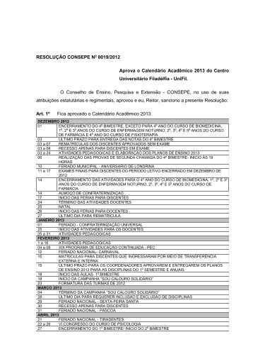 Calendário Acadêmico 2013 para Bacharelado - UniFil