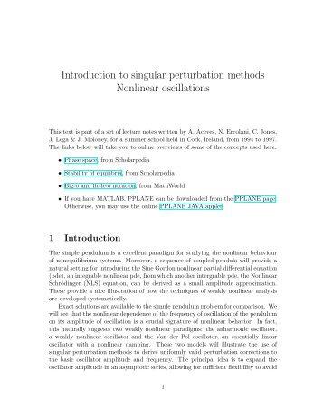 Introduction to singular perturbation methods Nonlinear oscillations