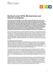 Das Buch an der OFFA: Mit Autorinnen und Autoren im Gespräch