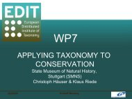 Diapositive 1 - EDIT | - European Distributed Institute of Taxonomy