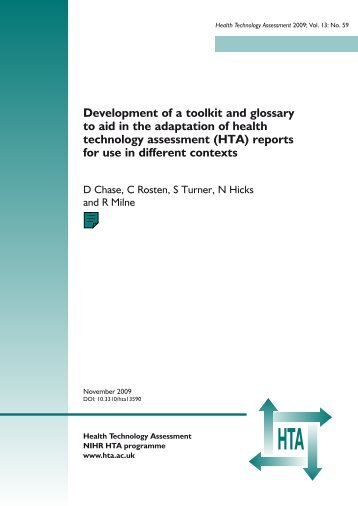 Development of a toolkit and glossary to aid in the adaptation of ...
