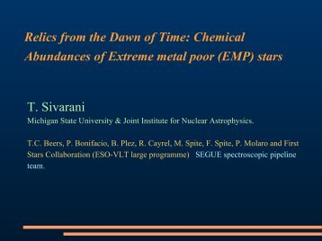 First Stars - Indian Institute of Astrophysics