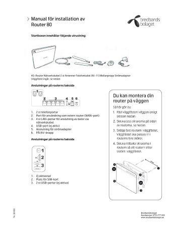 Manual för installation av Router 80 - Bredbandsbolaget
