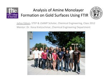 Analysis of Amine Monolayer Formation on Gold Surfaces Using FTIR