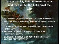 Friday, April 1, 2011: Women, Gender, and the Family; The Religion ...