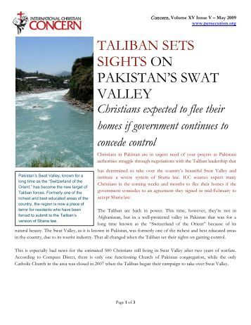 taliban sets sights on pakistan's swat valley - Persecution.org