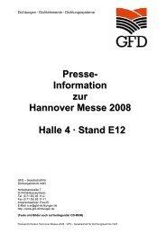 Presse- Information zur Hannover Messe 2008 Halle 4 - GFD ...