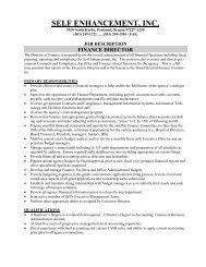 finance director - Self Enhancement, Inc.