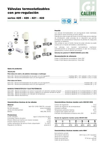 Válvulas termostatizables con pre-regulación - Caleffi