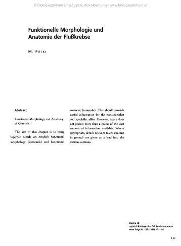 Funktionelle Morphologie und Anatomie der Flußkrebse
