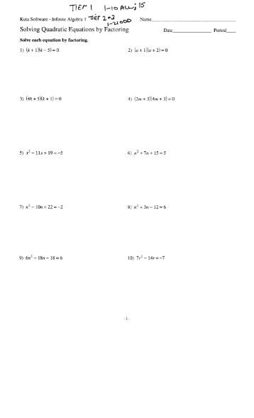 Printables Solving Quadratic Equations By Factoring Worksheet Answers 9 6 practice b solving quadratic equations by factoring date period