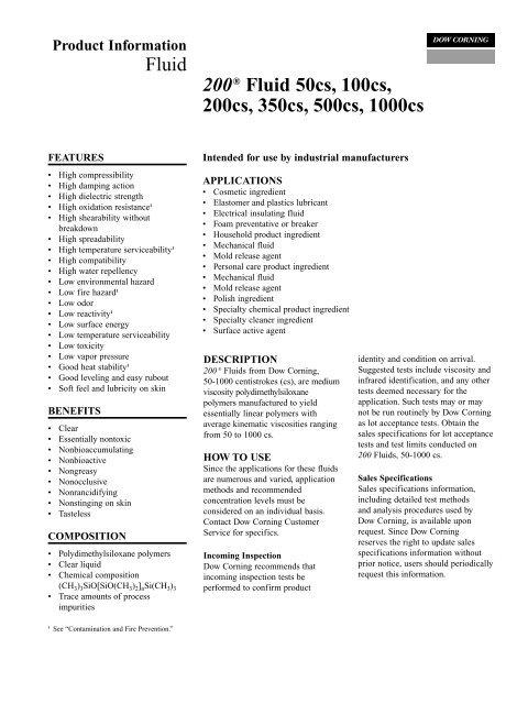 Silicone Fluid 200/50 cst