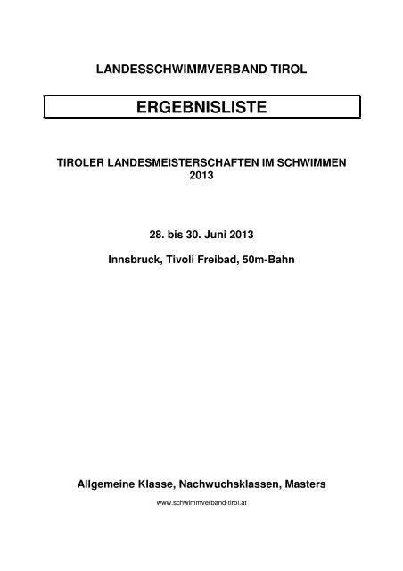 Ergebnisliste / Protokoll Gesamt - Landesschwimmverband Tirol