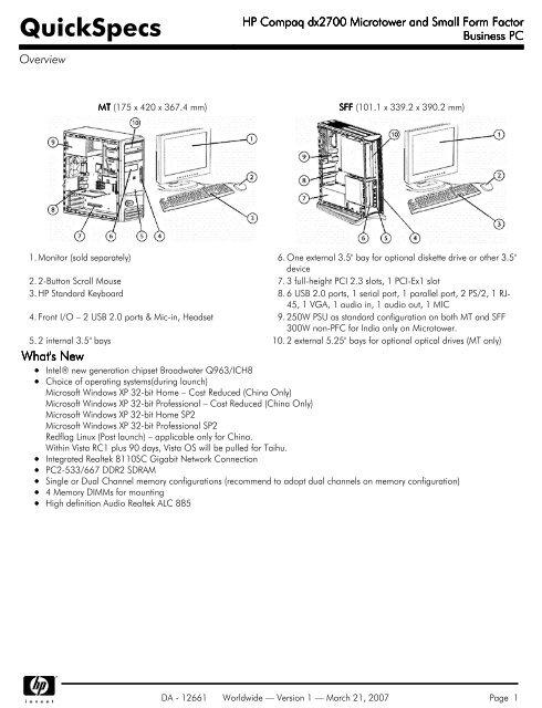 2GB Memory Compaq Business Desktop dc5000 Microtower