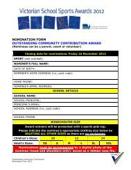 NOMINATION FORM - School Sport Victoria