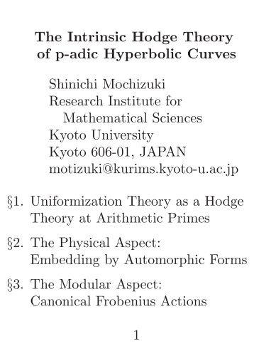 Shinichi Mochizuki Research Institute for Mathematical