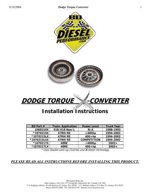 BD Diesel 1070217X Torque Converter Installation