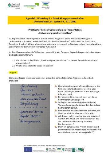 Protokoll Entwicklungspartnerschaften - Landentwicklung - Steiermark