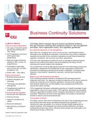Business Continuity Solutions - CGI