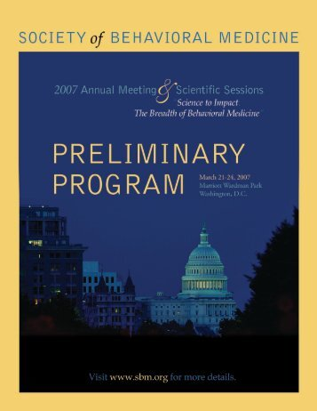 Annual Meeting Supporters - Society of Behavioral Medicine