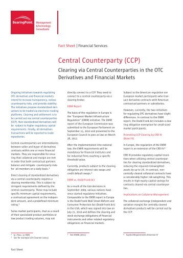 Central Counterparty (CCP) - BearingPoint ToolBox