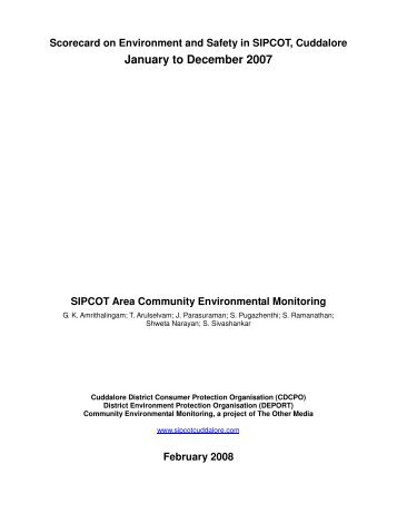 Scorecard on Environment and Safety in SIPCOT, Cuddalore