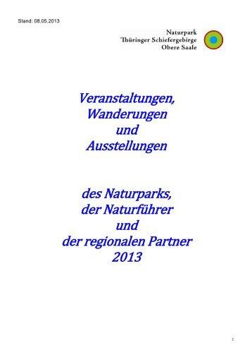 Veranstaltungen für 2013 - Naturpark Thüringer Schiefergebirge ...