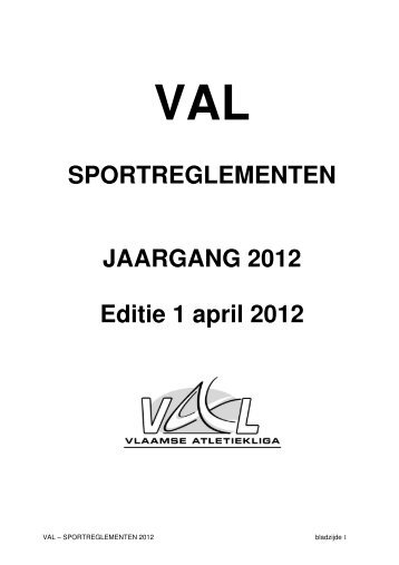 SPORTREGLEMENTEN JAARGANG 2012 Editie 1 april 2012 - Val