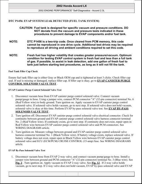 dtc p1456: evap system leak detected - JustAnswer