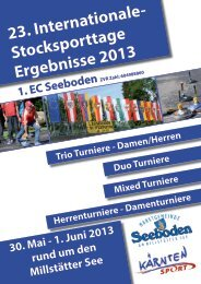 23. Internationale- Stocksporttage Ergebnisse 2013 30. Mai - 1. Juni ...