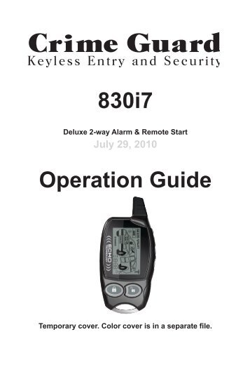 830i7 Operation Guide - car alarm