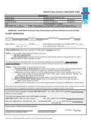 Student Data Enrollment Form - Detroit Public Schools