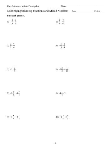 math worksheet : fractions and mixed number worksheet kuta  fractions and mixed  : Dividing Fractions And Mixed Numbers Worksheet
