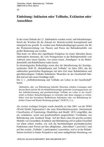 Einleitung: Inklusion oder Teilhabe, Exklusion ... - Julius Klinkhardt