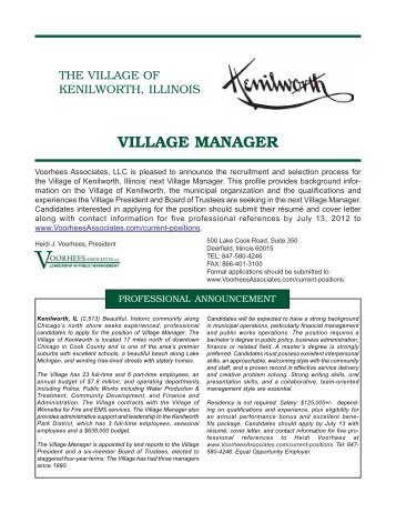 VILLAGE MANAGER - Voorhees Associates LLC