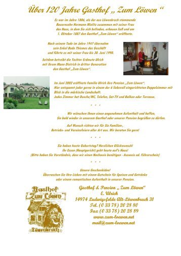 """Über 100 Jahre - im Gasthof & Pension """"Zum Löwen"""""""