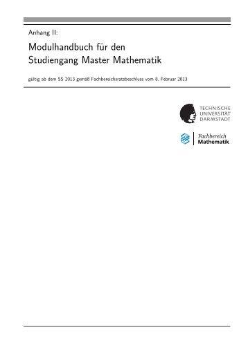 Modulhandbuch für den Studiengang Master Mathematik