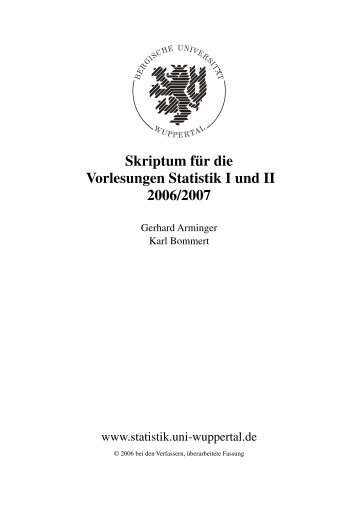 Skriptum für die Vorlesungen Statistik I und II 2006/2007