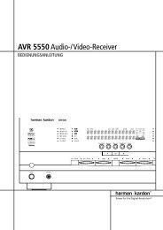 AVR 5550Audio-/Video-Receiver - Aerne Menu