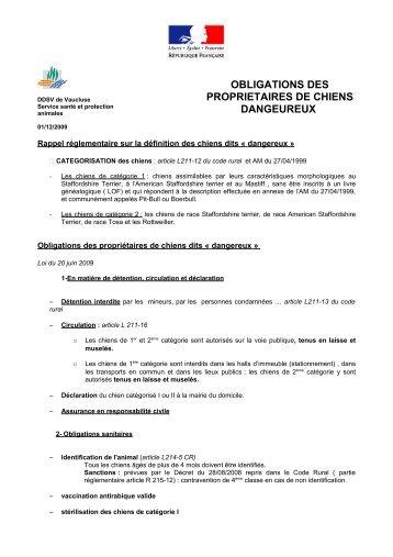 obligations des proprietaires de chiens dangeureux - Préfecture de ...