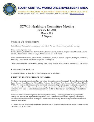 health care 1-12-10.pdf - South Central Workforce Investment Board
