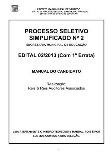 Edital de Processo Seletivo nº 02/2013 (Atualizado com 1ª Errata)