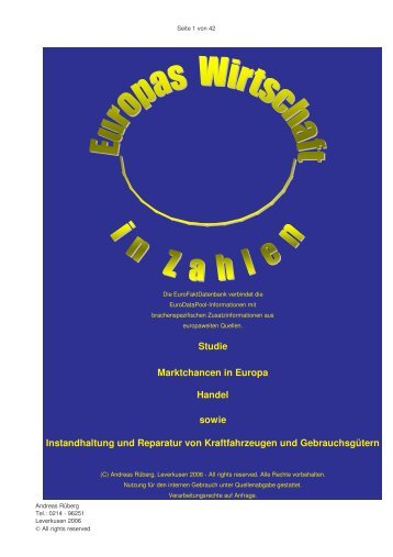 Marktchancen in Europa – Handel sowie Instandhaltung und ...