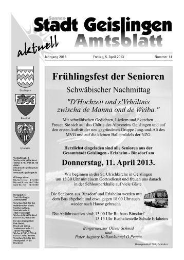 Amtsblatt Geislingen KW14 - Stadt Geislingen