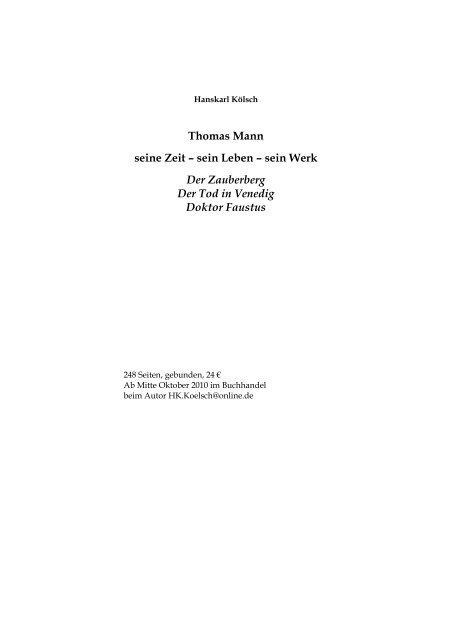 Thomas Mann Leseprobe Hanskarl Kãlsch