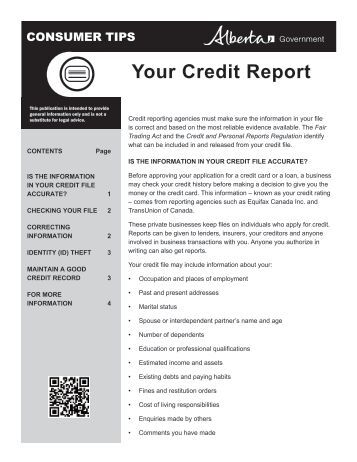 how to get a credit report alberta