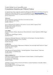Centri di Consulenza Genetica - Fondazione Ricerca Fibrosi Cistica