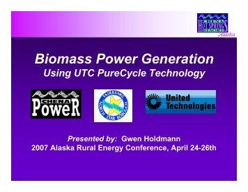 Biomass Power Generation - University of Alaska Fairbanks