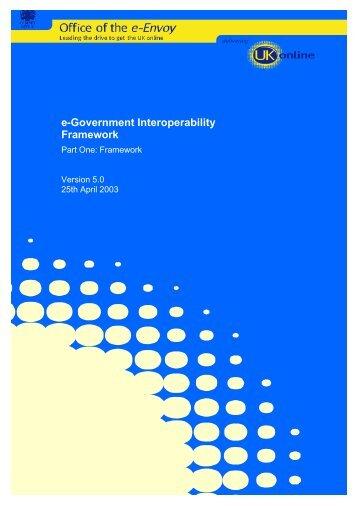 e-Government Interoperability Framework - Part one